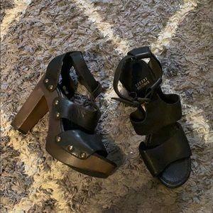 Stuart Weitzman black leather platforms sz 10